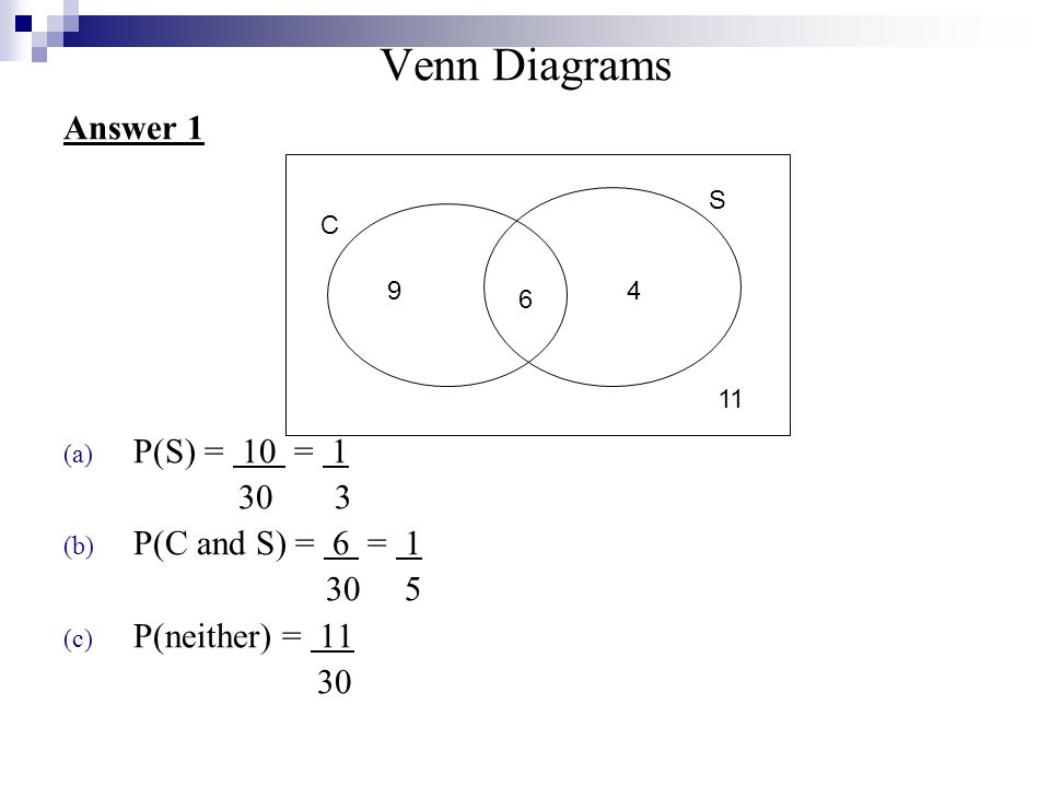 Topic 14 Venn Diagrams Another Approach To Answering Probability