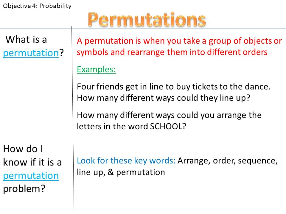 What Is A Permutation A Permutation Is When You Take A Group Of