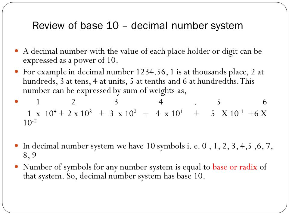 Chapter 1 Number Systems Digital Electronics Topics Discussed In