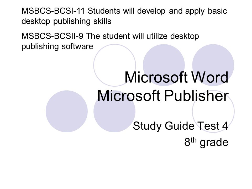 microsoft word microsoft publisher study guide test 4 8 th grade