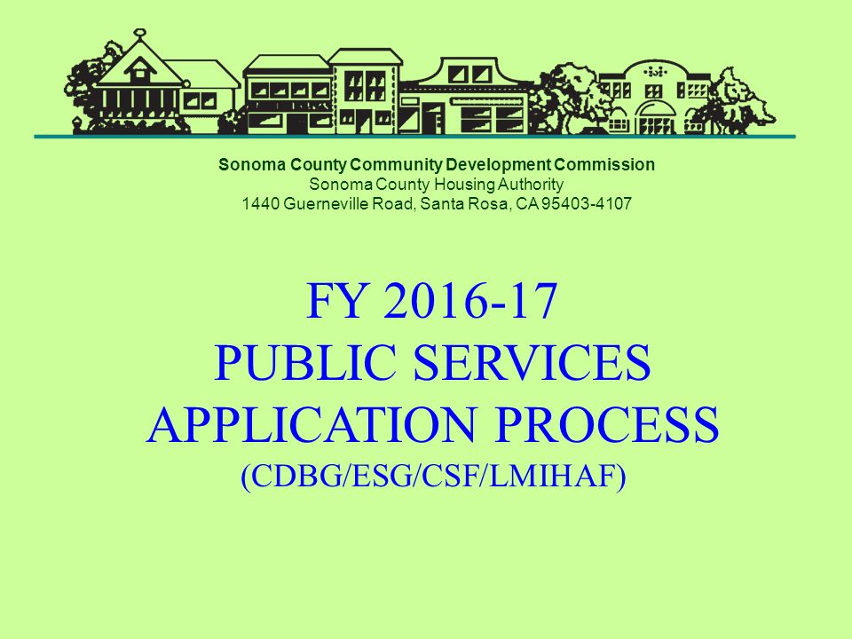 FY PUBLIC SERVICES APPLICATION PROCESS (CDBG/ESG/CSF/LMIHAF