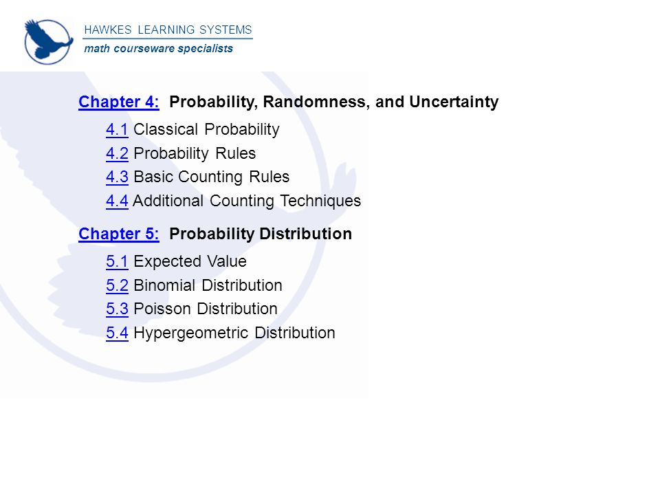 Beginning statistics table of contents hawkes learning systems math 3 4141 fandeluxe Choice Image