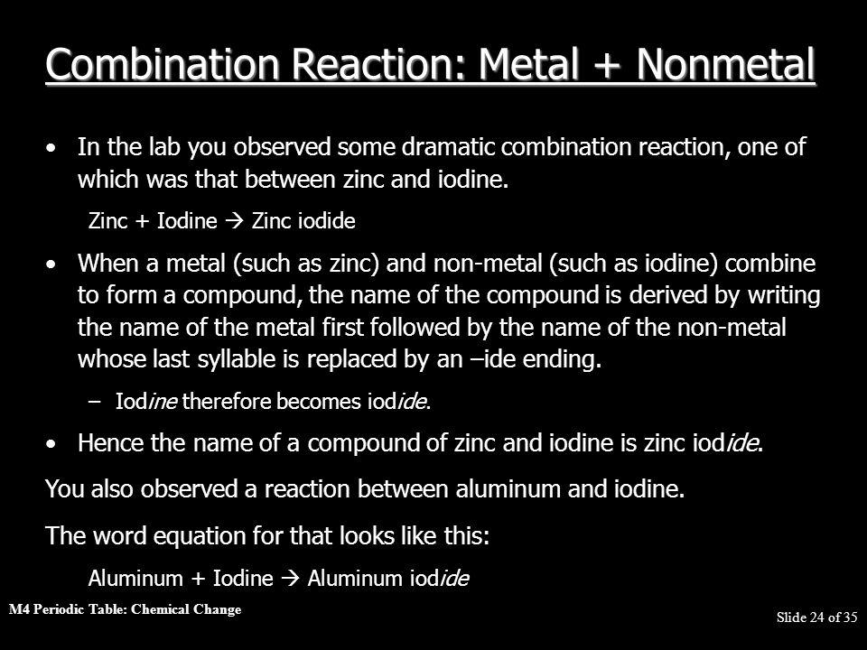 zinc iodide reaction