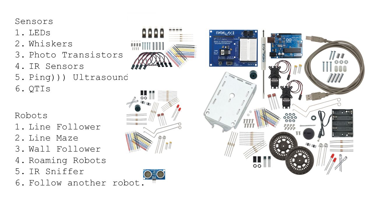 Workshop Robot Proposal For A 1teach Some Basic The Line Follower Sensor And Its Circuitry Ir Sensors 5ping Ultrasound 6qtis Robots 1line 2line Maze 3wall 4roaming 5ir Sniffer 6follow Another