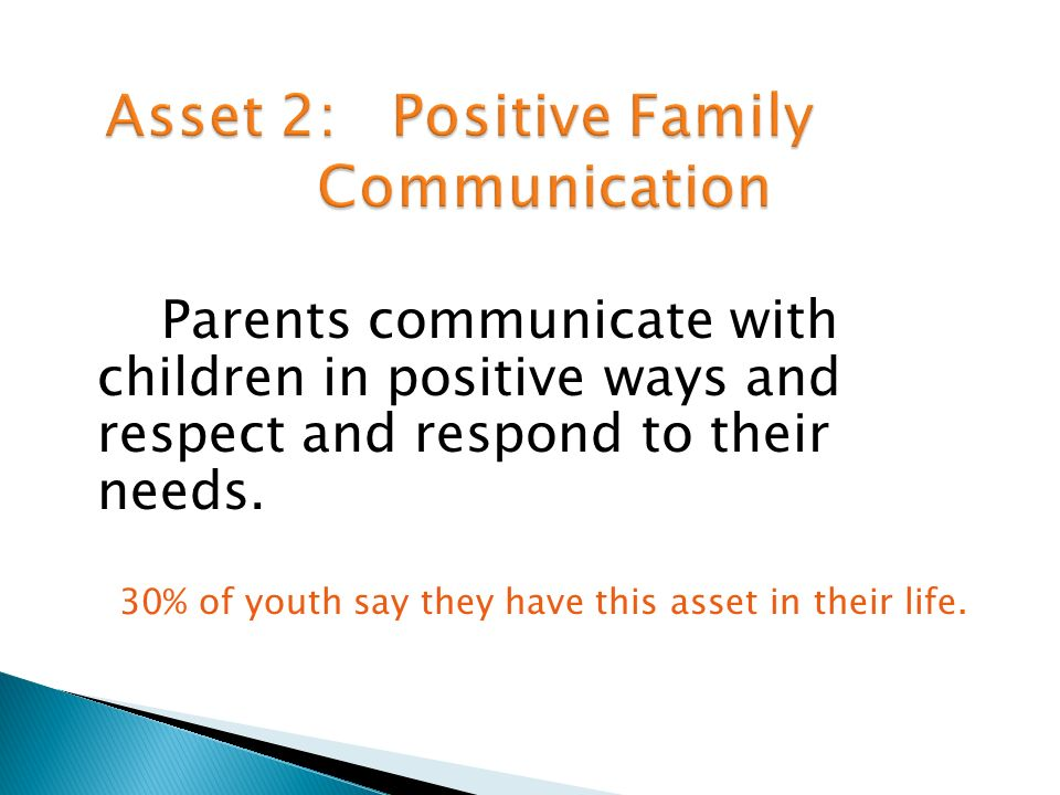 Parents communicate with children in positive ways and respect and respond to their needs.