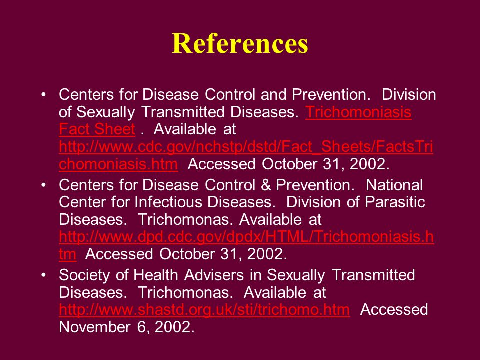 Sexually transmitted diseases reference sheet