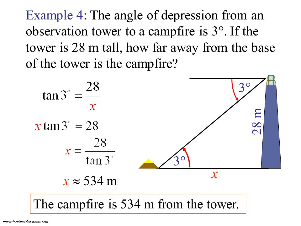 58 Problem Solving With Right Triangles Angle Of Elevation
