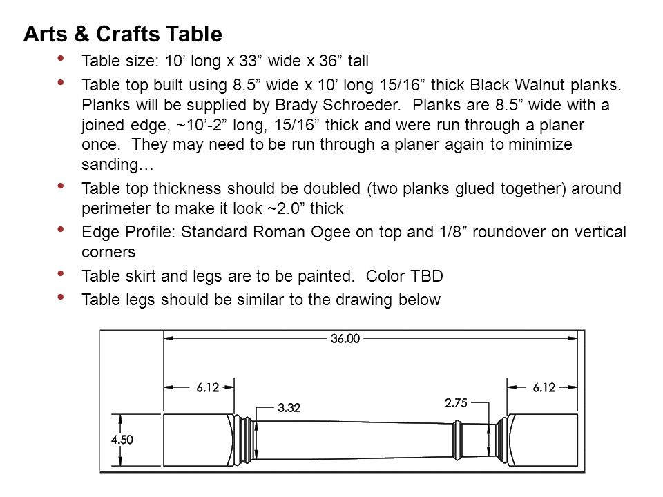 Arts U0026 Crafts Table Table Size: 10u0027 Long X 33 Wide X 36 Tall