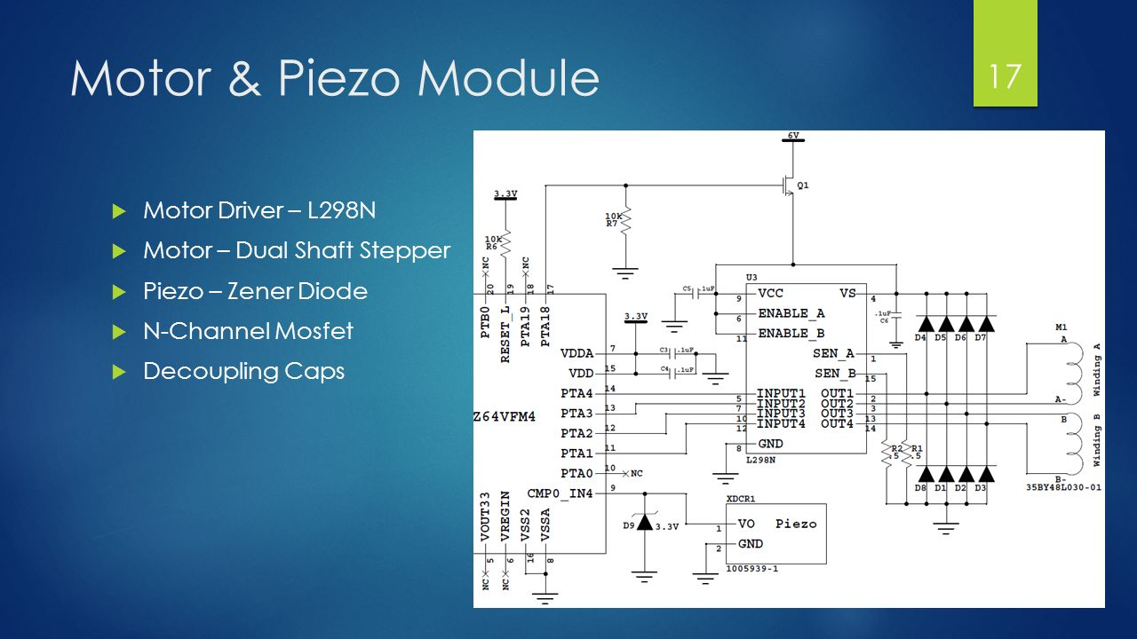 Knocker Unlocker Jacob Gilbert Senior Design Project Ppt Download Driving N Channel Mosfets With A Microcontroller 17 Motor Piezo Module Driver L298n Dual Shaft Stepper Zener Diode Mosfet Decoupling Caps