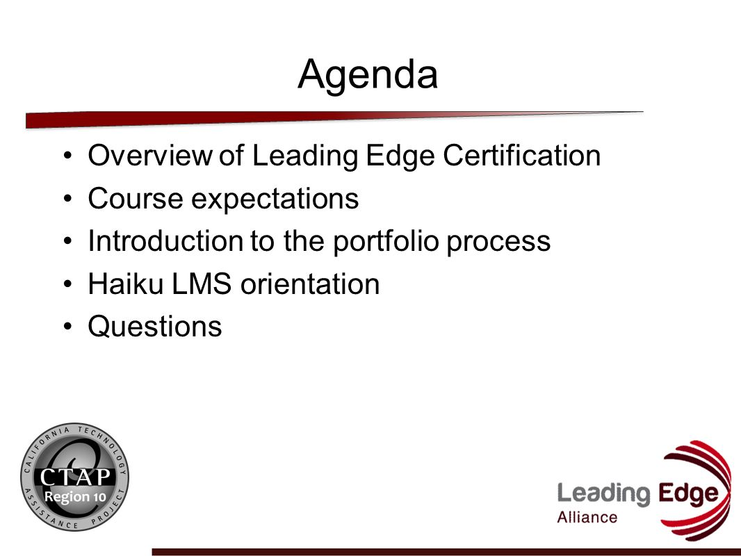 Leading Edge Certification RIMS CTAP Cohort 1 8/23/11 7:00 pm. - ppt ...