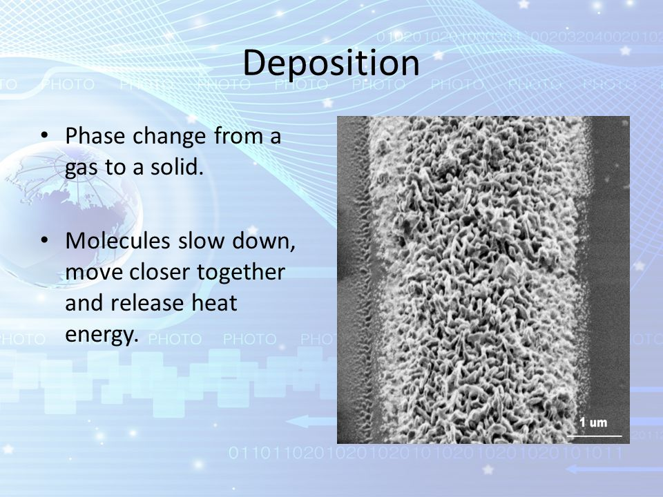 deposition phase change from a gas to a solid
