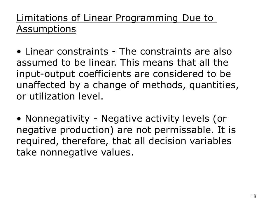 limitations of linear programming model