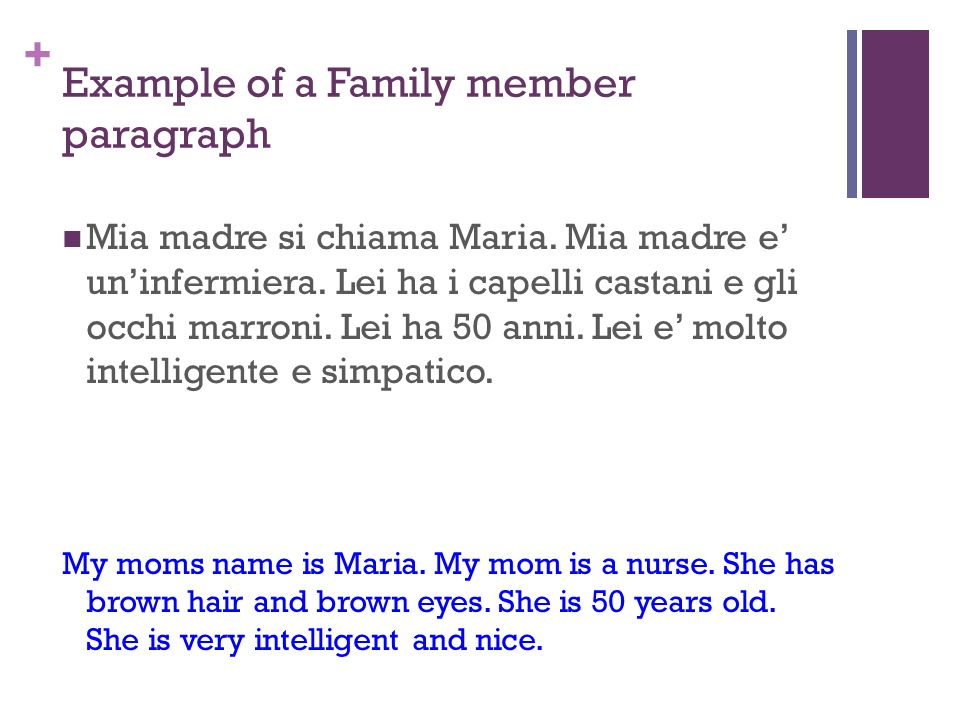 my family members paragraph