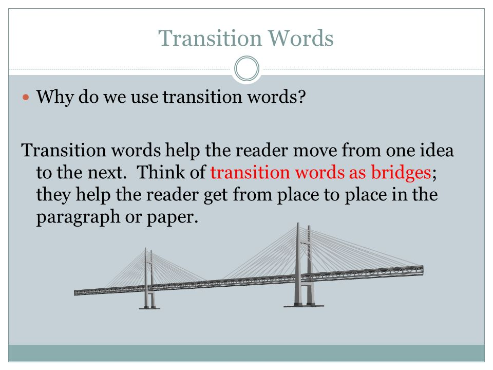 why do we use transition words