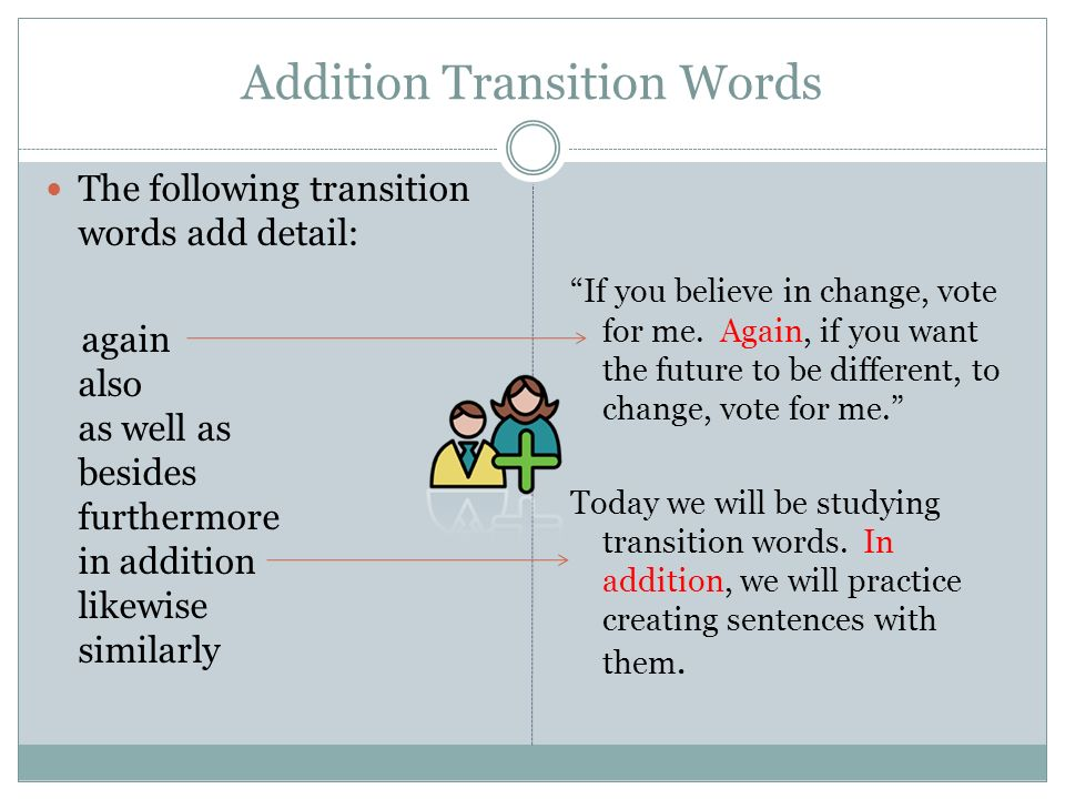 another transition word for in addition
