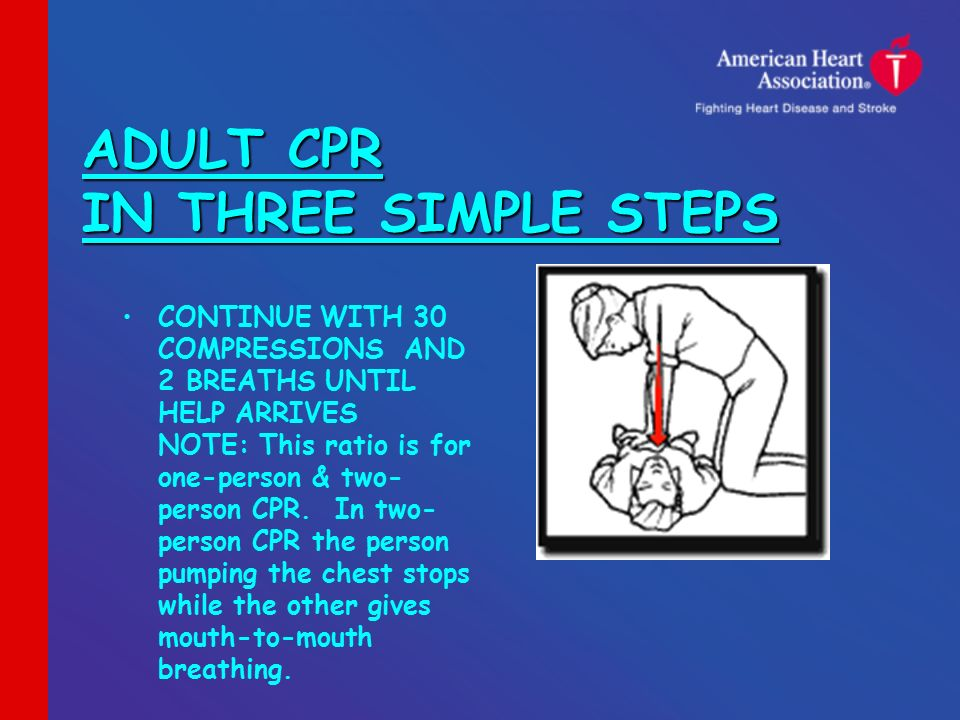 ADULT CPR IN THREE SIMPLE STEPS CONTINUE WITH 30 COMPRESSIONS AND 2 BREATHS  UNTIL HELP ARRIVES