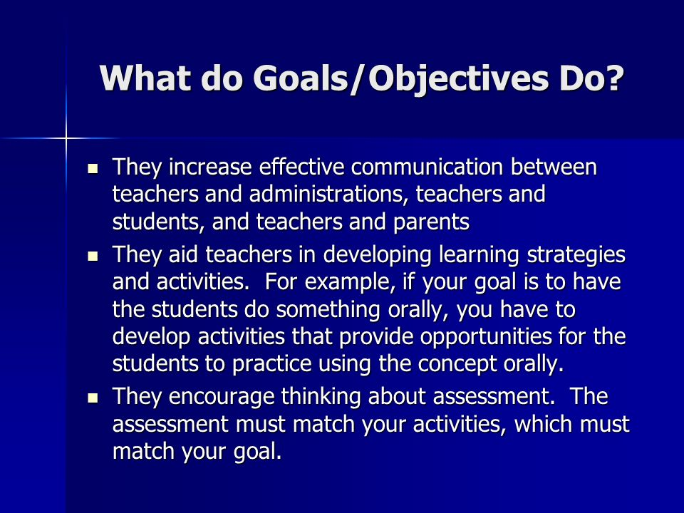 Writing Instructionallearning Objectives What Do Goalsobjectives