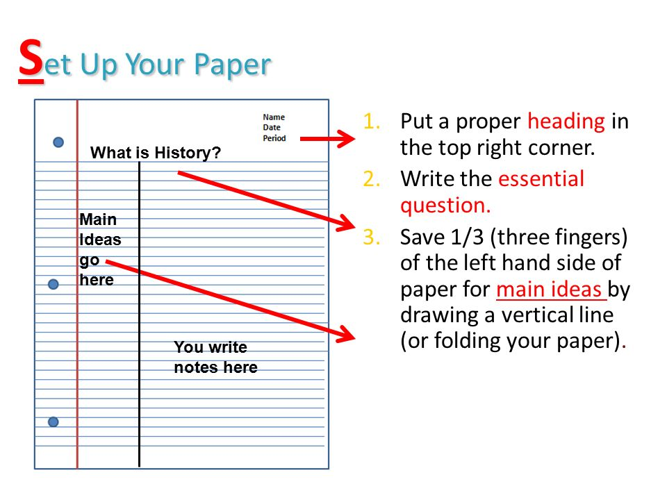 S et Up Your Paper 1.Put a proper heading in the top right corner.