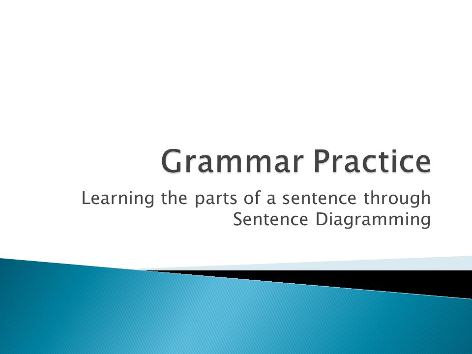 Learning The Parts Of A Sentence Through Sentence Diagramming Ppt