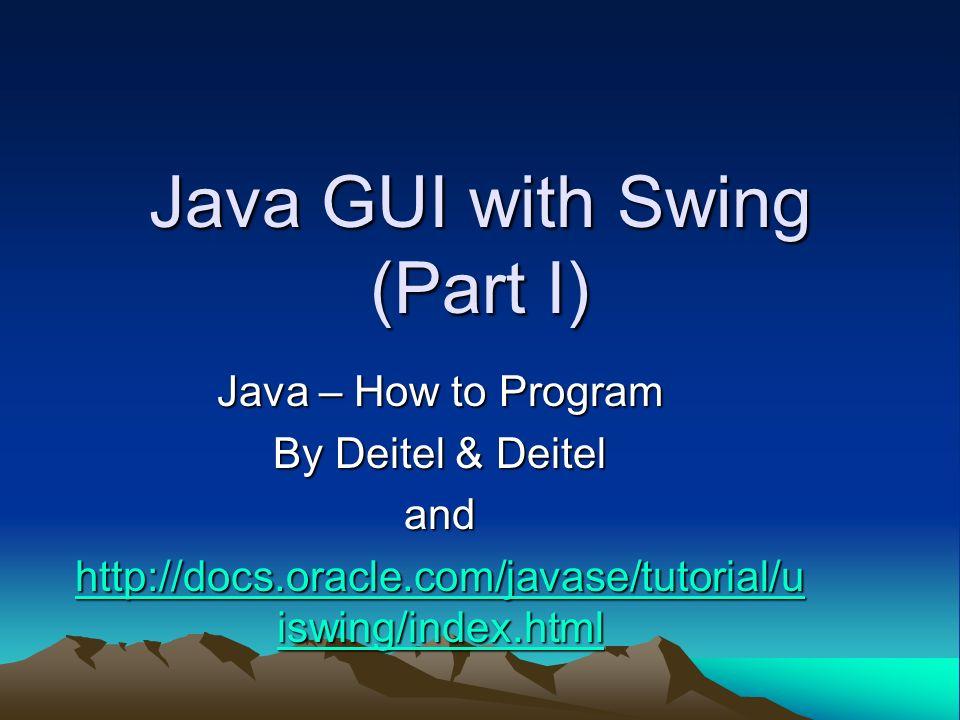 Java GUI with Swing (Part I) Java – How to Program By Deitel