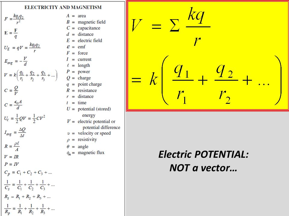 Electric POTENTIAL: NOT a vector…