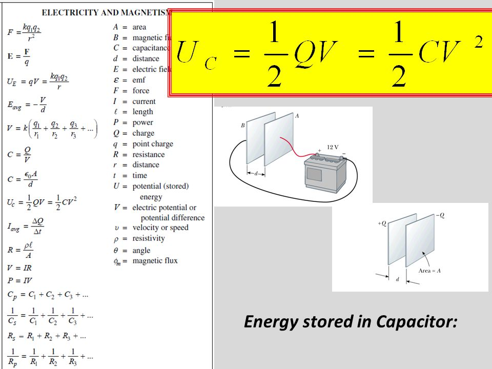 Energy stored in Capacitor: