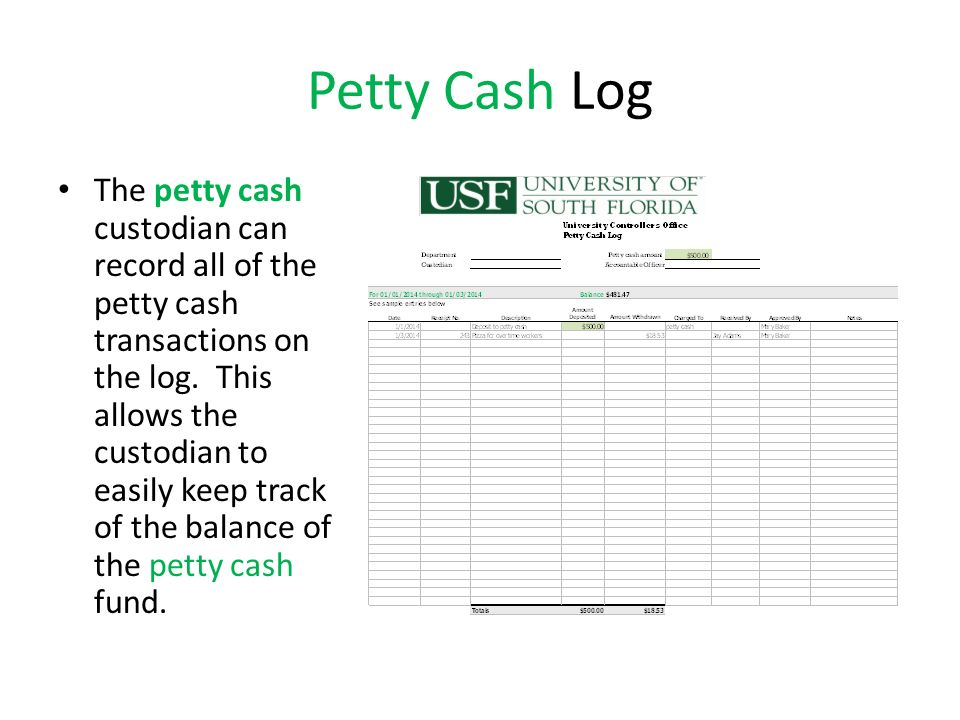 petty cash transaction log