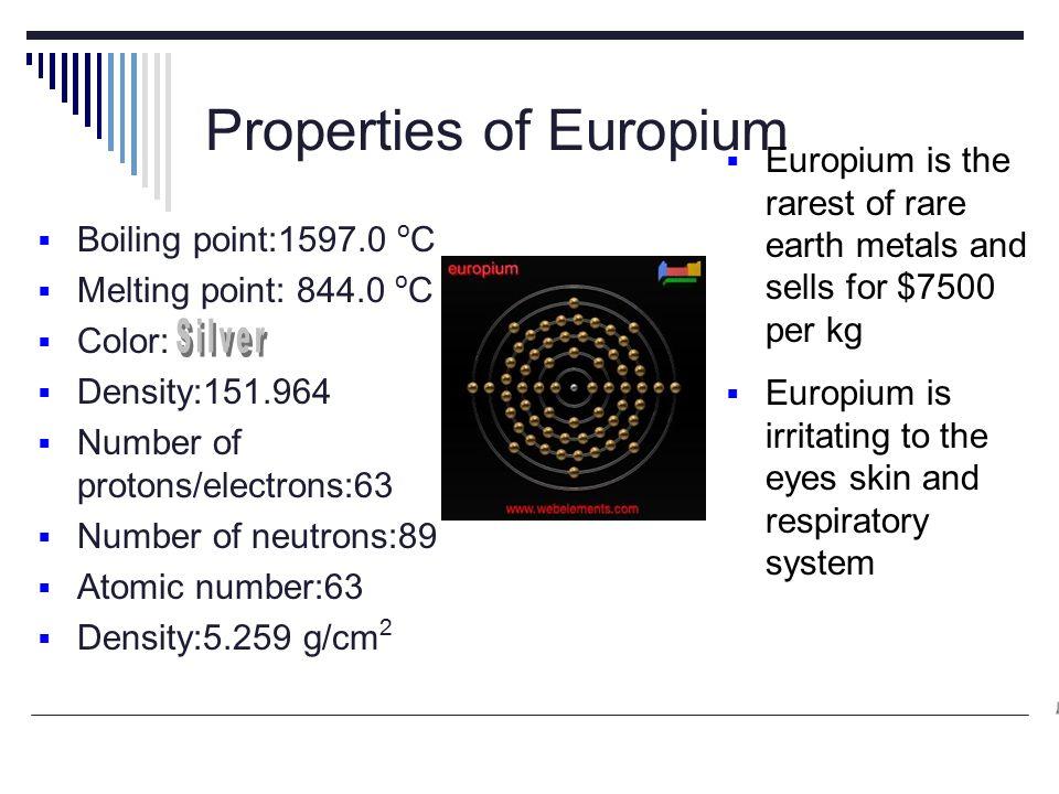 Element Properties Of Europium Bboiling Point O C Mmelting