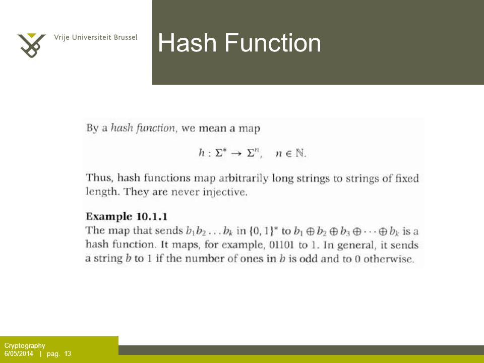 Hash Function Cryptography 6/05/2014 | pag. 13