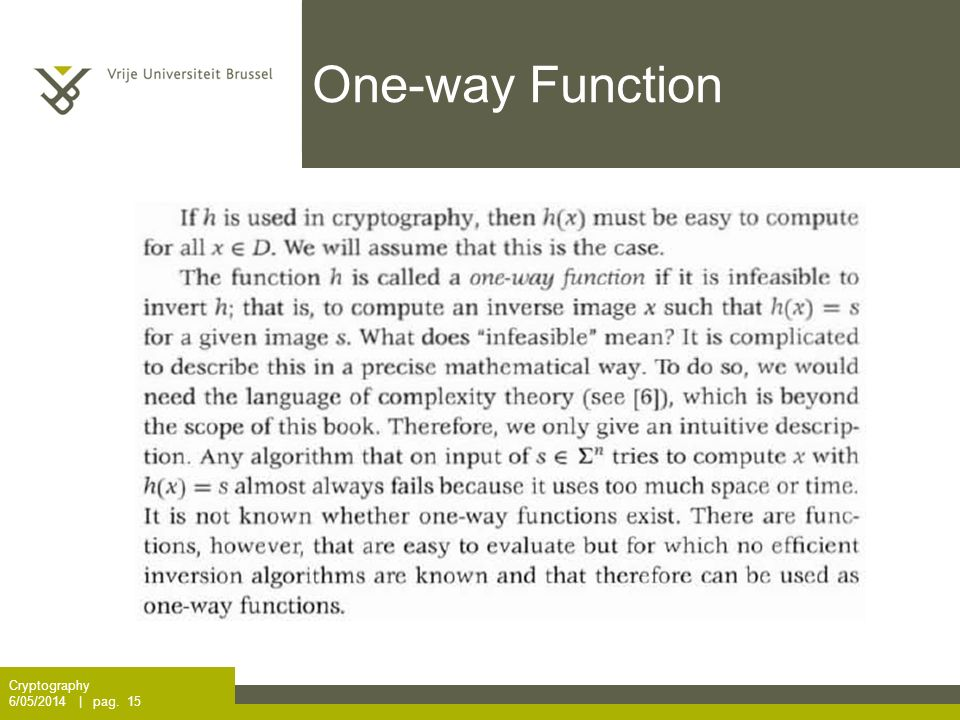 One-way Function Cryptography 6/05/2014 | pag. 15