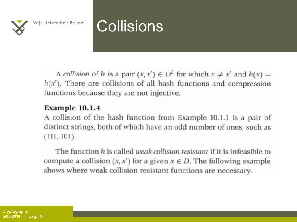 Collisions Cryptography 6/05/2014 | pag. 17