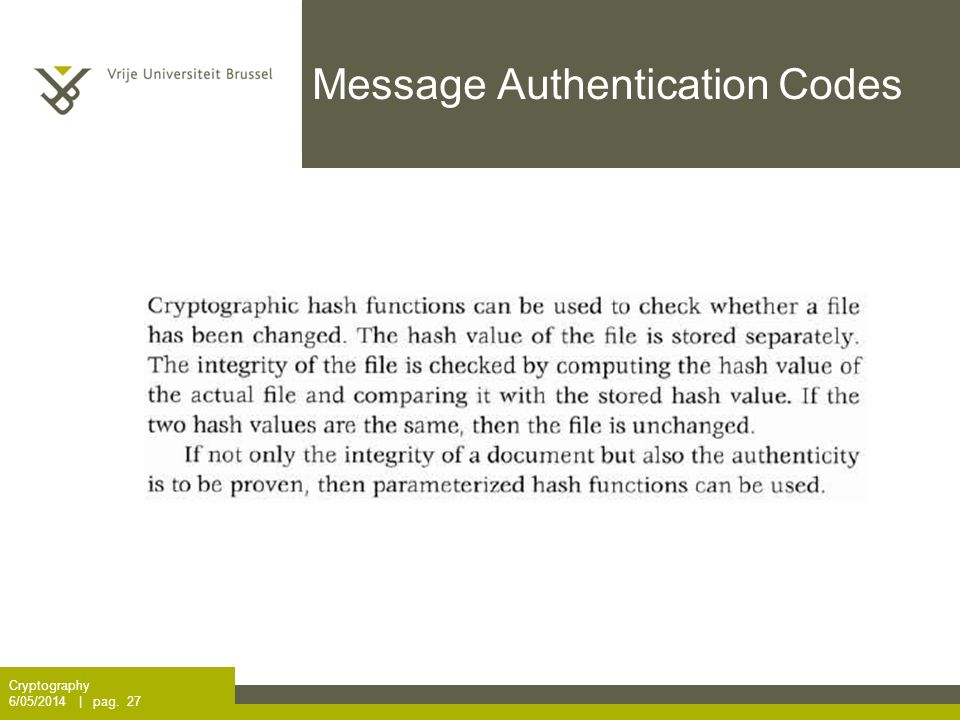 Message Authentication Codes Cryptography 6/05/2014 | pag. 27