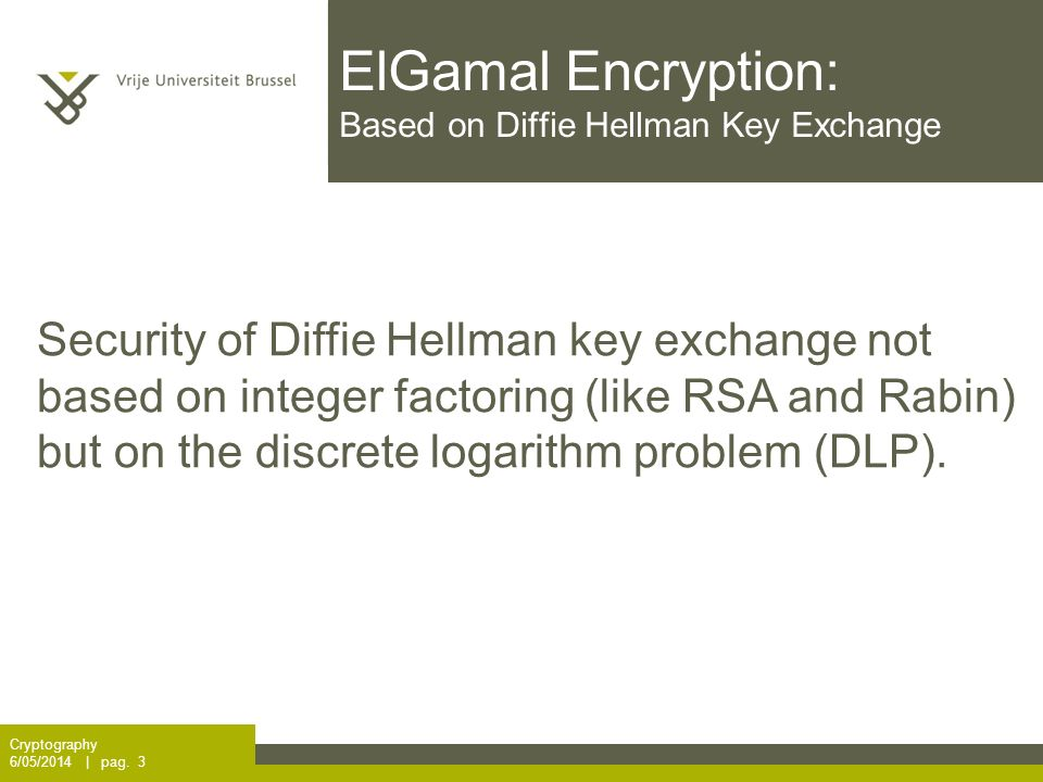 ElGamal Encryption: Based on Diffie Hellman Key Exchange Cryptography 6/05/2014 | pag.