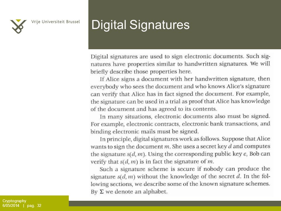Digital Signatures Cryptography 6/05/2014 | pag. 32