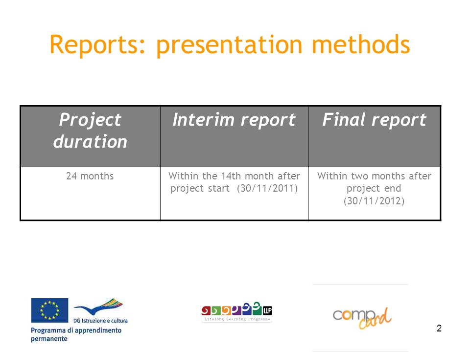 2 Reports: presentation methods Project duration Interim reportFinal report 24 monthsWithin the 14th month after project start (30/11/2011) Within two months after project end (30/11/2012)