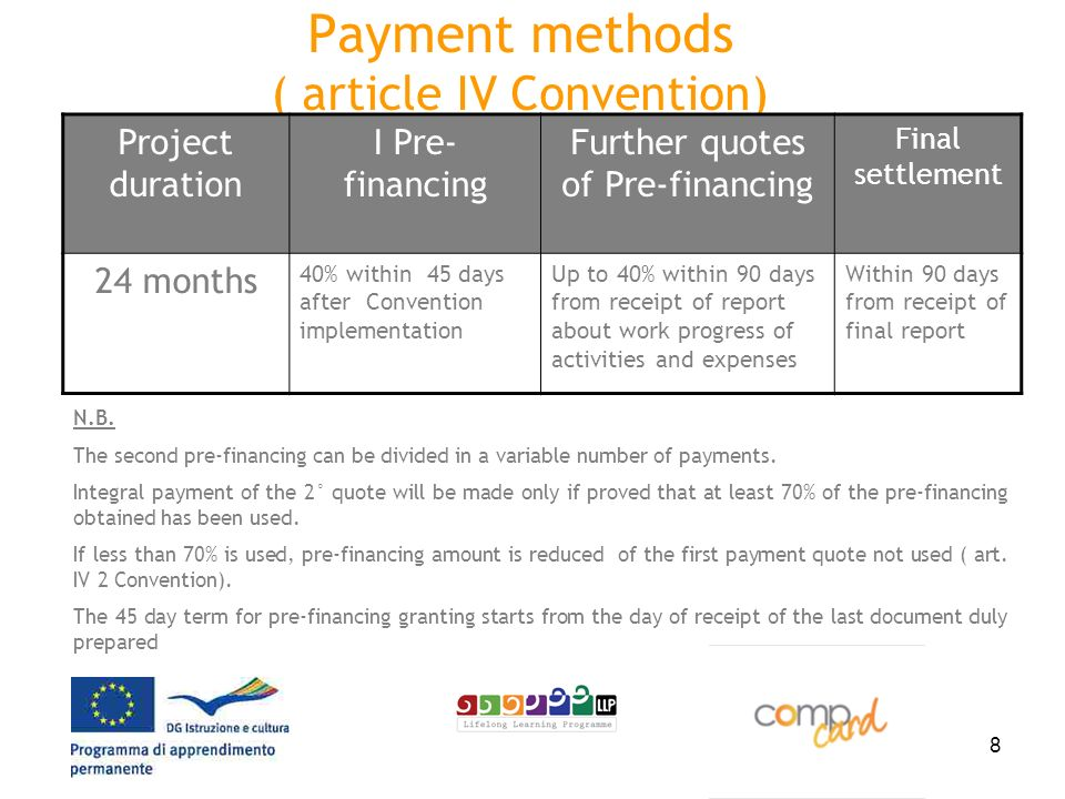 8 Payment methods ( article IV Convention) Project duration I Pre- financing Further quotes of Pre-financing Final settlement 24 months 40% within 45 days after Convention implementation Up to 40% within 90 days from receipt of report about work progress of activities and expenses Within 90 days from receipt of final report N.B.