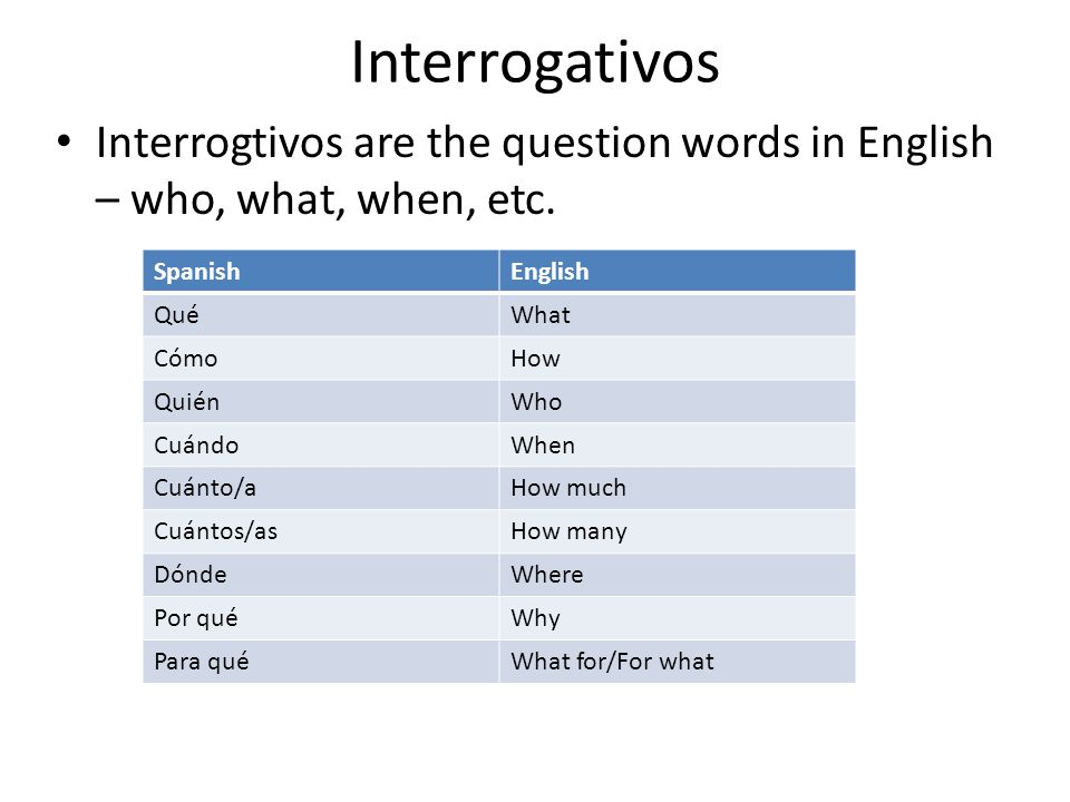 Interrogativos Interrogtivos are the question words in English – who, what, when, etc.
