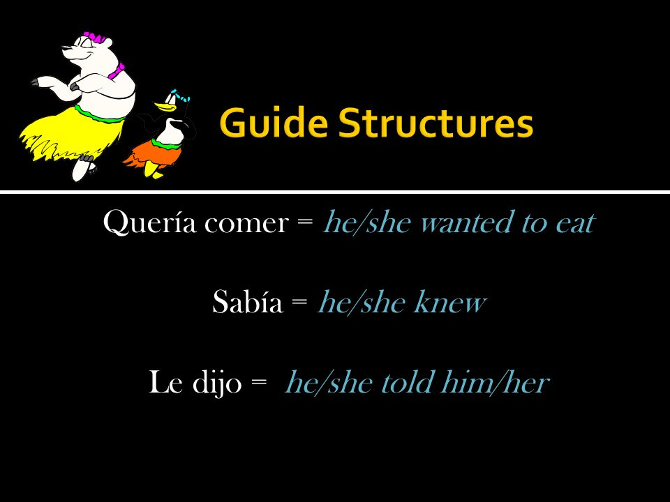 Quería comer = he/she wanted to eat Sabía = he/she knew Le dijo = he/she told him/her