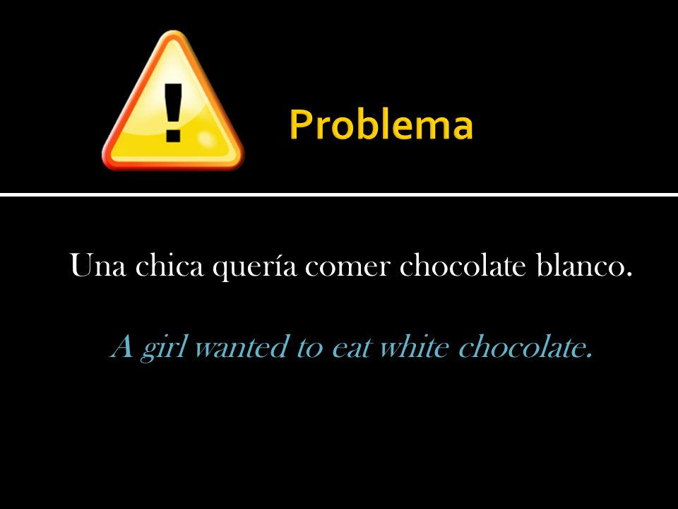 Una chica quería comer chocolate blanco. A girl wanted to eat white chocolate.