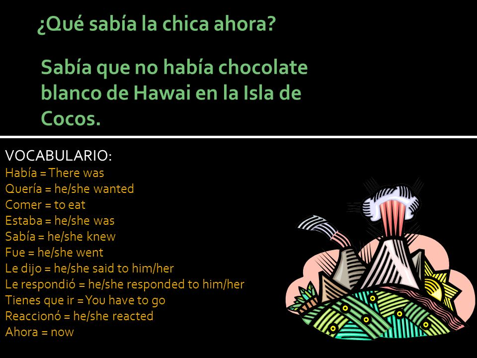 VOCABULARIO: Había = There was Quería = he/she wanted Comer = to eat Estaba = he/she was Sabía = he/she knew Fue = he/she went Le dijo = he/she said to him/her Le respondió = he/she responded to him/her Tienes que ir = You have to go Reaccionó = he/she reacted Ahora = now