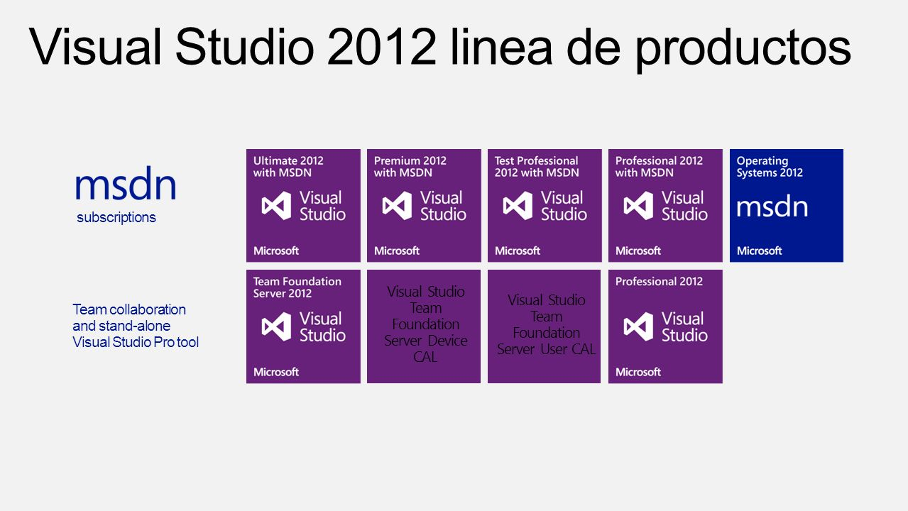 Visual Studio Team Foundation Server Device CAL Visual Studio Team Foundation Server User CAL subscriptions Team collaboration and stand-alone Visual Studio Pro tool
