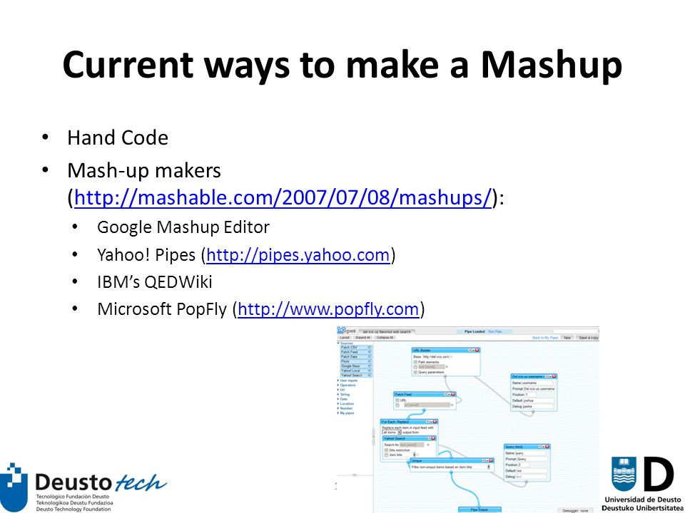117 Current ways to make a Mashup Hand Code Mash-up makers (http://mashable.com/2007/07/08/mashups/):http://mashable.com/2007/07/08/mashups/ Google Mashup Editor Yahoo.