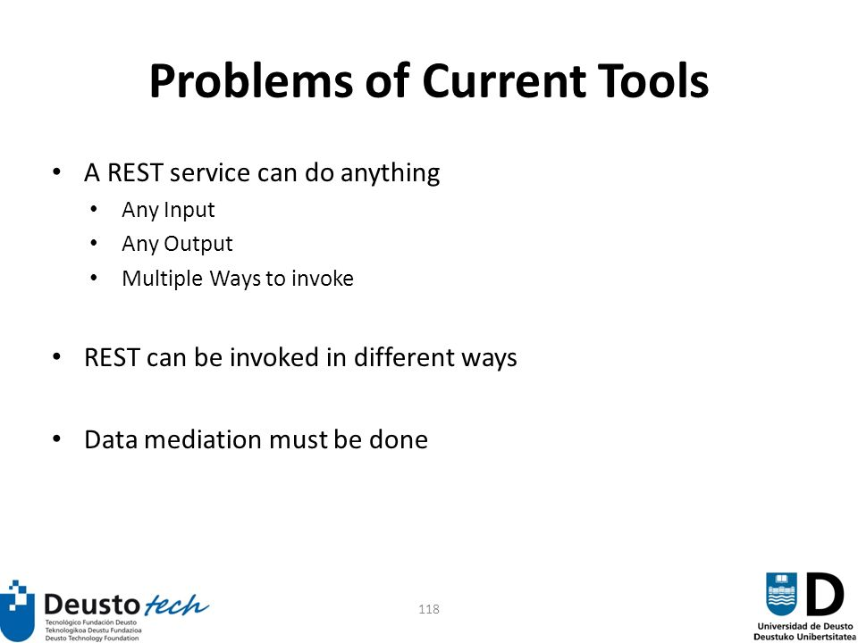 118 Problems of Current Tools A REST service can do anything Any Input Any Output Multiple Ways to invoke REST can be invoked in different ways Data mediation must be done