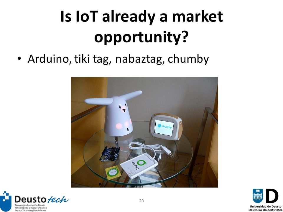 20 Is IoT already a market opportunity Arduino, tiki tag, nabaztag, chumby