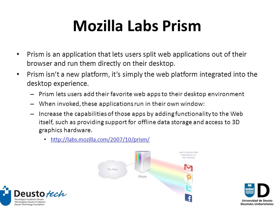 52 Mozilla Labs Prism Prism is an application that lets users split web applications out of their browser and run them directly on their desktop.