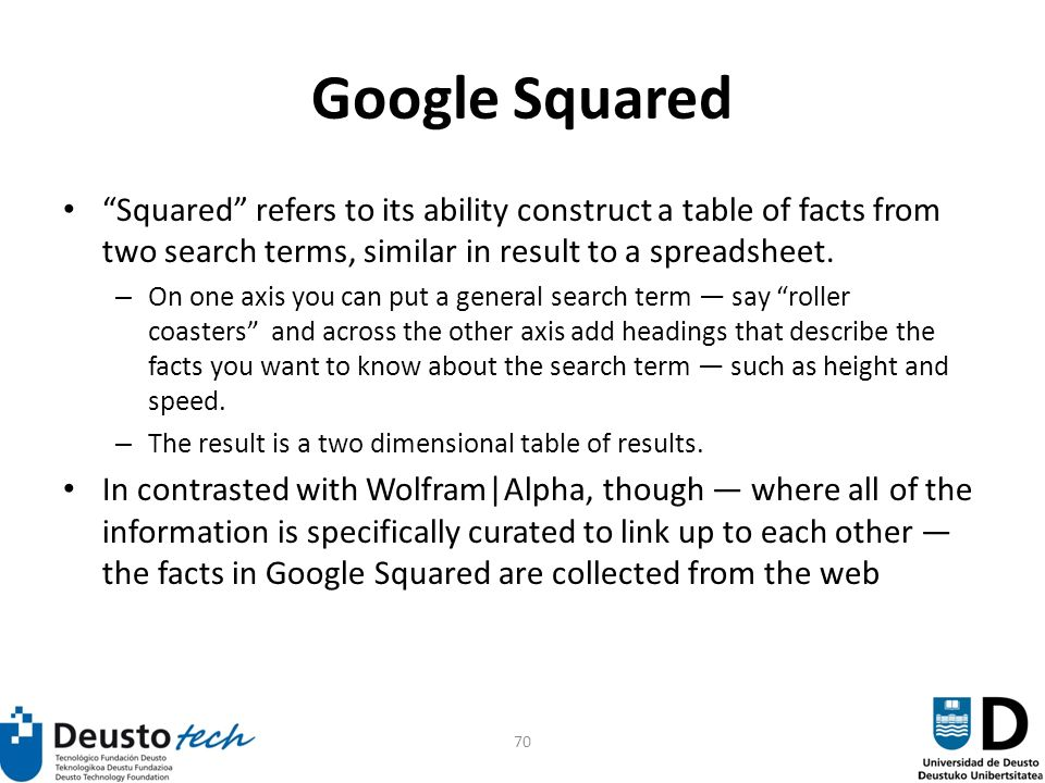 70 Google Squared Squared refers to its ability construct a table of facts from two search terms, similar in result to a spreadsheet.