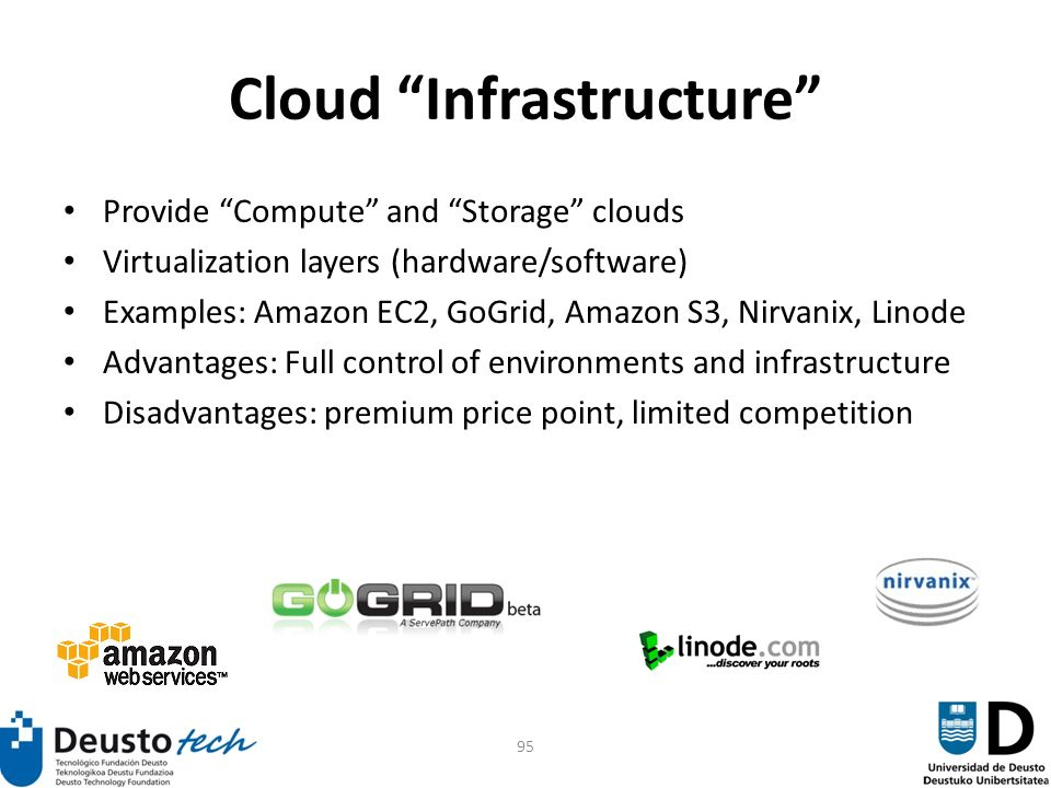 95 Cloud Infrastructure Provide Compute and Storage clouds Virtualization layers (hardware/software) Examples: Amazon EC2, GoGrid, Amazon S3, Nirvanix, Linode Advantages: Full control of environments and infrastructure Disadvantages: premium price point, limited competition