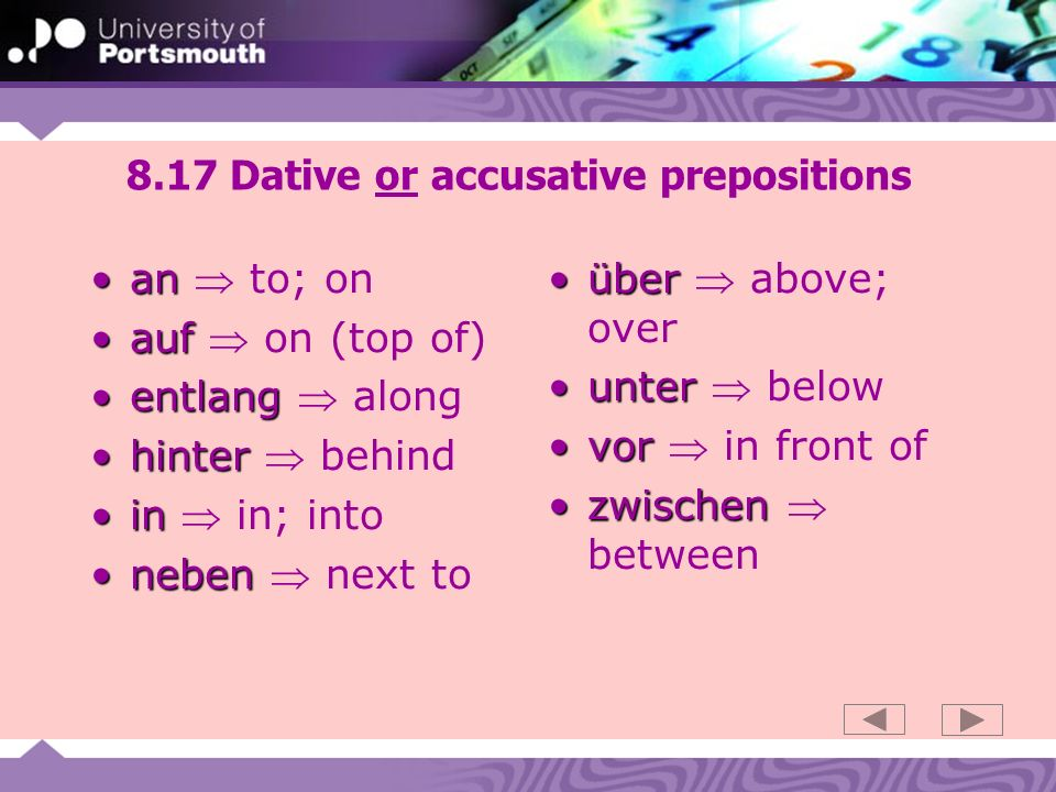 8.17 Dative or accusative prepositions anan to; on aufauf on (top of) entlangentlang along hinterhinter behind inin in; into nebenneben next to überüber above; over unterunter below vorvor in front of zwischenzwischen between