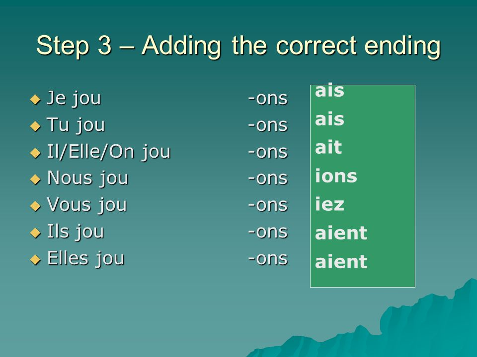 Step 3 – adding the correct ending Take the –ons off the nous ending Take the –ons off the nous ending e.g.