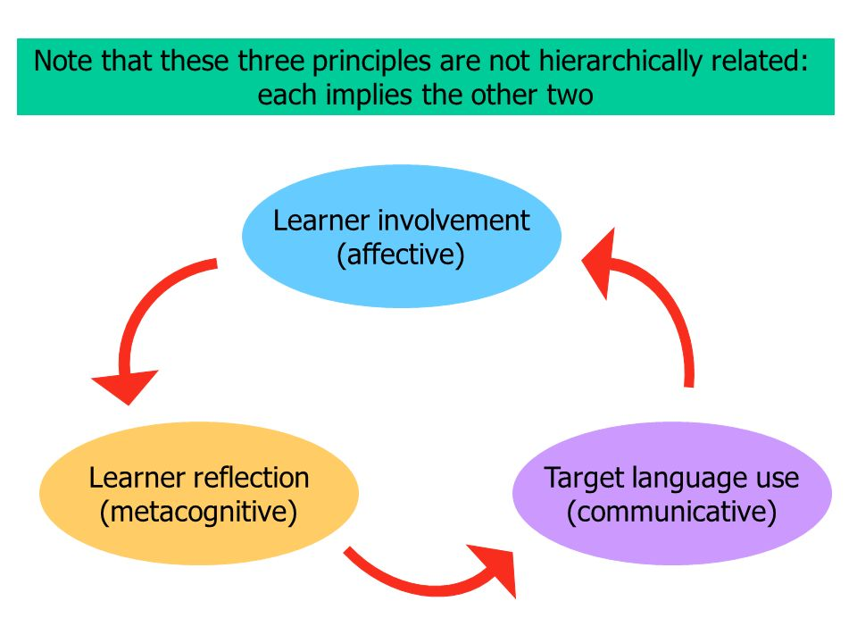 Note that these three principles are not hierarchically related: each implies the other two Learner involvement (affective) Learner reflection (metacognitive) Target language use (communicative)